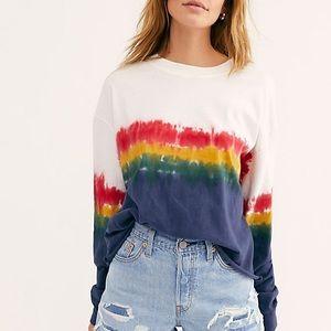 daydreamer for free people rainbow wash tee sz L